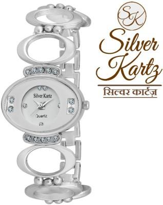 Silver Kartz Swarovski Oval Analog Watch  - For Girls, Women