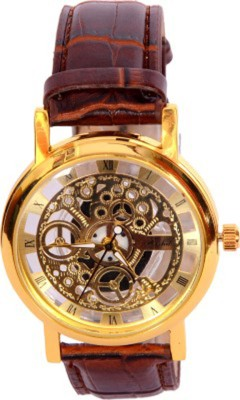 Mobspy BT-7 Transparent Golden Case Stylish Watch Analog Watch  - For Men