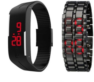 Q&Q LED Band And Chain Combo Analog-Digital Watch - For Boys, Men, Girls, Women, Couple