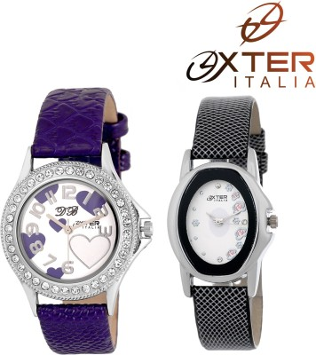OXTER Lovely Purple and Smart Black Classic Collection Analog Watch  - For Women