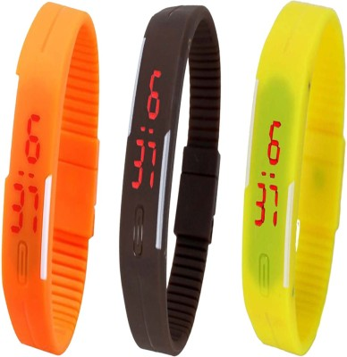 Twok Combo of Led Band Orange + Brown + Yellow Digital Watch - For Boys, Couple, Girls, Men, Women
