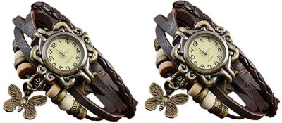 D9MART Girls Brown Butterfly Wrist Watch pack of 2 Analog Watch  - For Girls