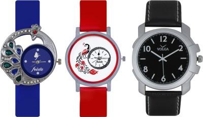 Frida Designer VOLGA Beautiful New Branded Type Watches Men and Women Combo510 VOLGA Band Analog Watch  - For Couple
