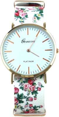 Geneva Platinum Without Seconds Movement Ultra Thin Floral Strap Analog Watch - For Women, Girls
