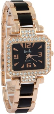 Addic Timiho Crystal Studded Black Strap 17 Analog Watch  - For Women