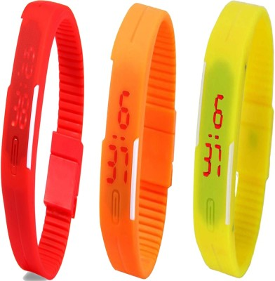 Twok Combo of Led Band Red + Orange + Yellow Digital Watch - For Boys, Couple, Girls, Men, Women