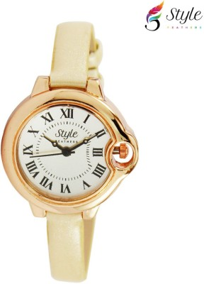 Style Feathers SF Round Cream 001 Analog Watch  - For Women