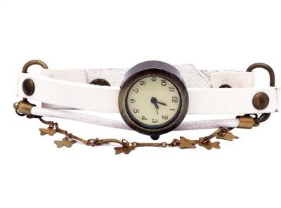 SHH Butterfly Design White Belt Analog Watch  - For Women