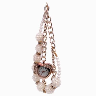 SHH White Moti Bracelet Analog Watch  - For Women