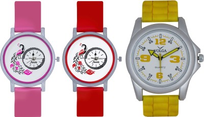 Frida Designer VOLGA Beautiful New Branded Type Watches Men and Women Combo596 VOLGA Band Analog Watch  - For Couple