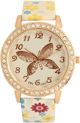 Addic Classy Crystal Studded Round Butterfly Case Flower Strap-W114 Analog Watch  - For Women