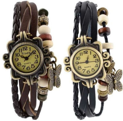 Codice Vintage Leather Butterfly Retro Analog Watch  - For Girls, Women