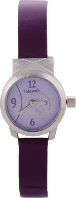 Telesonic TBOS-004 (Purple) Butterfly Round Analog Watch  - For Women