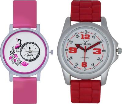 Frida Designer VOLGA Beautiful New Branded Type Watches Men and Women Combo77 VOLGA Band Analog Watch  - For Couple