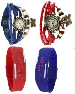 BYC Pack of 4 Red and Blue Analog-Digital Watch  - For Boys, Men, Girls, Women, Couple