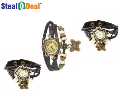 Stealodeal Black Rakhi Retro Style Butterfly Analog Watch  - For Boys, Couple, Girls, Men, Women