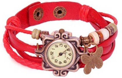 Designculture dgcVINTAGE-Red Vintage butterfly Analog Watch  - For Girls