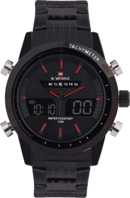 Naviforce NF9024-DBK-CBK-SBK-IRD Analog-Digital Watch  - For Men