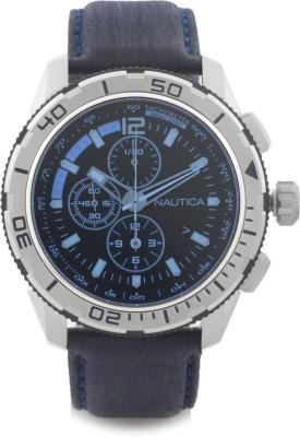 Nautica NAI19518G BrushedPolished Silver Case ,Black Dial, Blue Crystal, Chronograph Analog Watch  - For Men