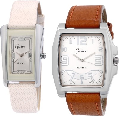 Gesture CMB WhBr Combo Analog Watch  - For Couple