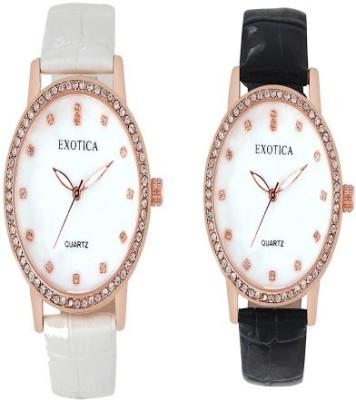 Exotica Fashions Combo-EFL-707-Black&White Basic Analog Watch  - For Women