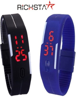 Richstar LED Band02PC2CLR_WDBLK Digital Wrist Band Digital Watch  - For Boys, Couple, Girls, Men, Women