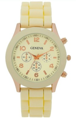 Geneva Quartz Vanilla Dial Silicone Strap Analog Watch  - For Women, Girls