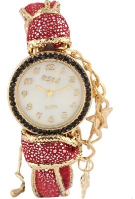 Addic Red Fabric Star Studded Fashion Luxury Strap WW038 Analog Watch  - For Women