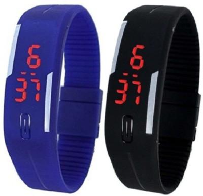 Pappi Boss Offer Unisex Black & Dark Blue Silicone Sports Led Smart Band Digital Watch - For Boys, Men, Girls, Women