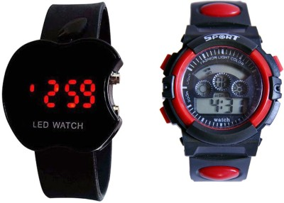 COSMIC RED DUAL TIME SSHOCK AND BLACK APPLE LED WATCH FOR BOYS AND MEN Analog Digital Watch    For Men available at Flipkart for Rs.440