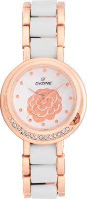 Dezine White Dial flower-lr032-Wht Analog Watch  - For Women