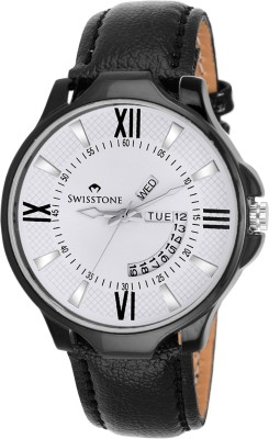 SWISSTONE SW-BLK105-WHT-BLK Analog Watch  - For Men, Boys