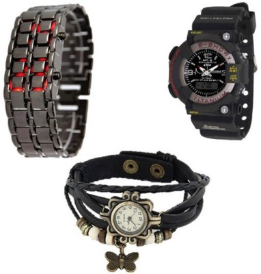 Y And D Combo of LED Chain , Sshock and Vintage Butterfly Analog-Digital Watch  - For Girls, Women