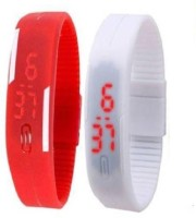 Fashion Gateway Red and White Led Magnet Band (pack of 2) Red and White Digital Watch  - For Boys & Girls best price on Flipkart @ Rs. 288
