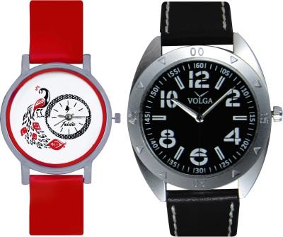Frida Designer VOLGA Beautiful New Branded Type Watches Men and Women Combo173 VOLGA Band Analog Watch  - For Couple