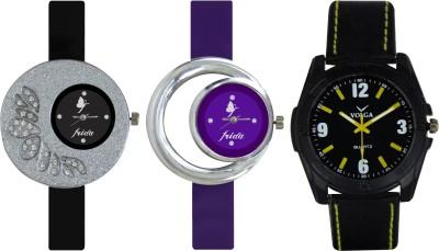 Frida Designer VOLGA Beautiful New Branded Type Watches Men and Women Combo307 VOLGA Band Analog Watch  - For Couple
