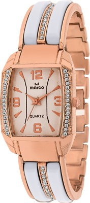 Marco Mr-Lsq090-Wht-Gld Jewel Analog Watch  - For Women
