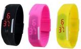 Fox Led Black Band watch Pack of 3 Digit...
