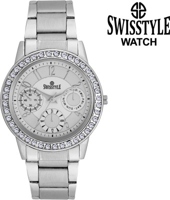 Swisstyle Ladies crystal studded-SS-LR020-WHT Analog Watch  - For Girls