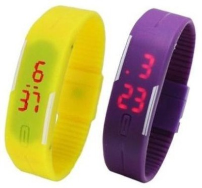 i-gadgets silicon yellow and purple led Digital Watch  - For Boys, Men