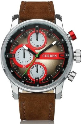 Curren Nx Luxury Colossal Red & Beige Dial Analog Watch  - For Men, Boys