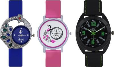 Frida Designer VOLGA Beautiful New Branded Type Watches Men and Women Combo419 VOLGA Band Analog Watch  - For Couple