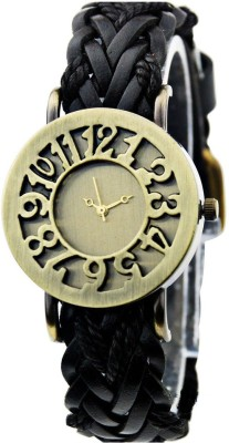 Janmangal Leather Black Analog Watch  - For Girls, Boys, Men, Women