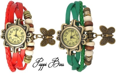 Pappi Boss Set Of 2 Vintage Leather Red & Green Butterfly Bracelet Analog Watch  - For Girls, Women