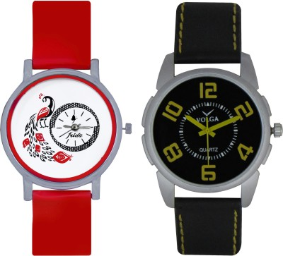 Frida Designer VOLGA Beautiful New Branded Type Watches Men and Women Combo167 VOLGA Band Analog Watch  - For Couple