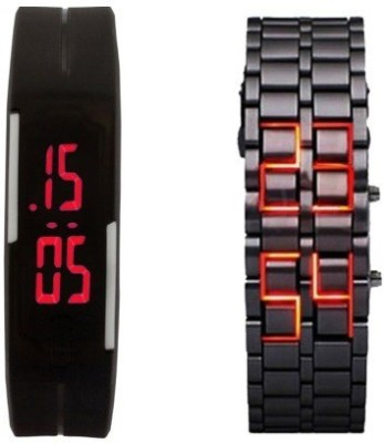 Mobspy Black LED Rubber & Matel Watch For Boys & Girls Digital Watch  - For Boys, Girls