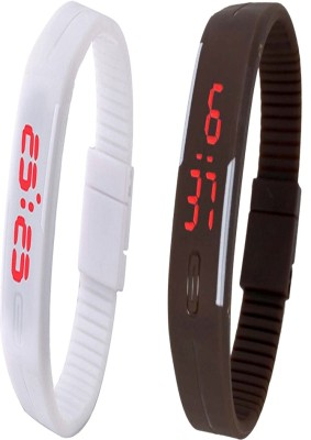 Y And D Combo of Led Band White + Brown Digital Watch - For Boys, Couple, Girls, Women, Men