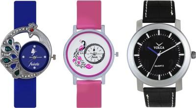 VOLGA Designer FVOLGA Beautiful New Branded Type Watches Men and Women Combo119 VOLGA Band Analog Watch  - For Couple
