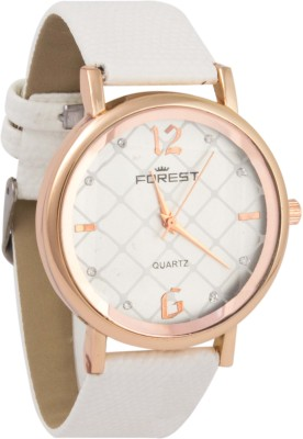 Forest Addic White Strap White Printed Multiple Box Dial (24) Analog Watch  - For Women