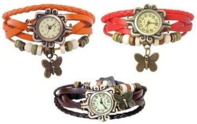 PRS FS4688 Leather Strap, Vintage Watch Analog Watch  - For Girls, Women